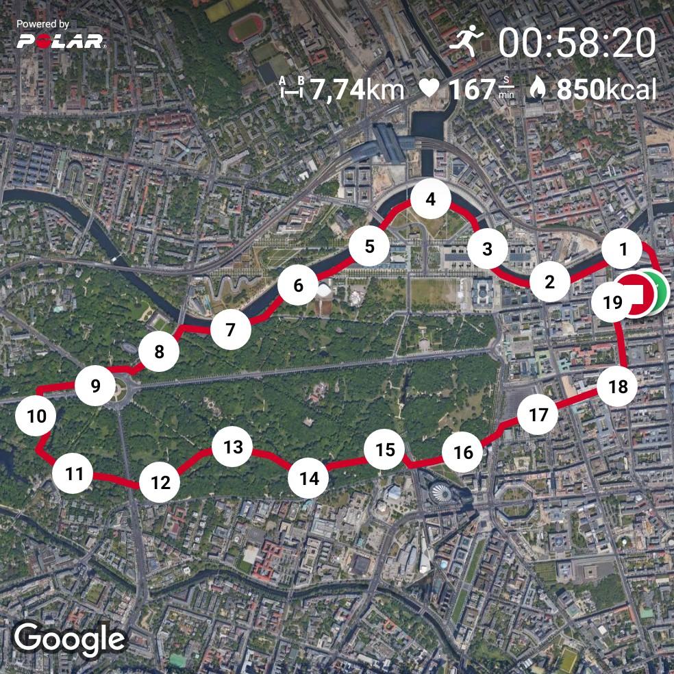 Laufen in Berlin - Große Tiergartenrunde 2018 - Polar